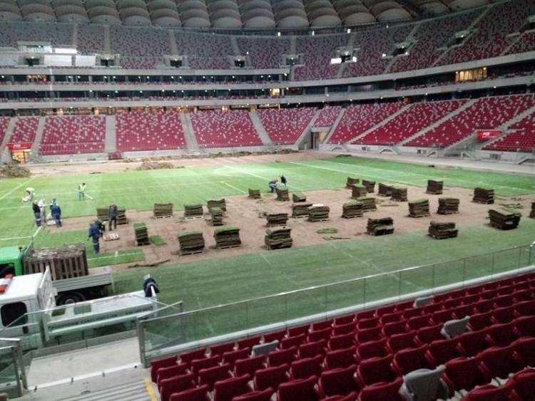 Informacje z regionu, Murawa Narodowego której grał Lewandowski trafiła stadion regionie - zdjęcie, fotografia