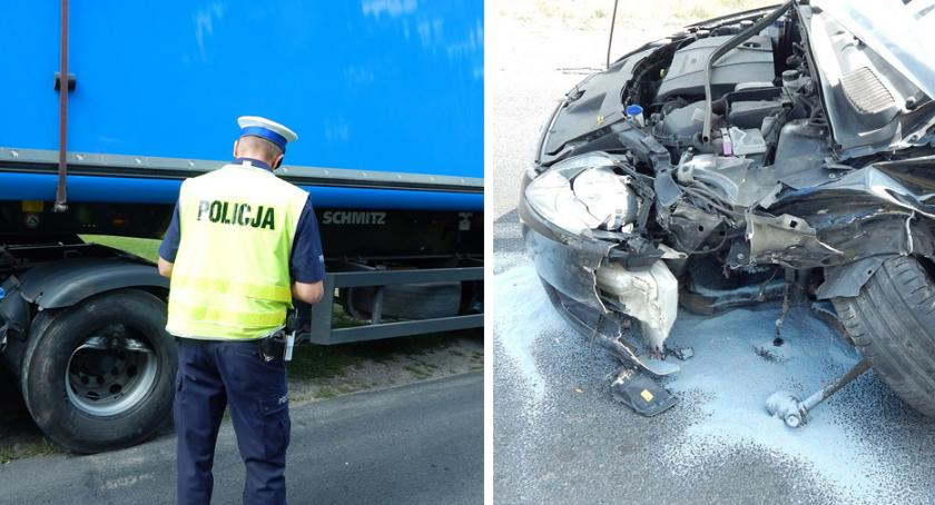 Wypadki drogowe, Wypadek Bieganowie zderzył ciężarową Scanią [FOTO] - zdjęcie, fotografia