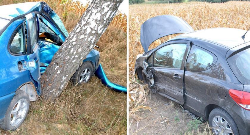 Wypadki drogowe, Tragiczny wypadek Dąbrówce Barcińskiej Czołowe zderzenia Seata Peugeotem - zdjęcie, fotografia