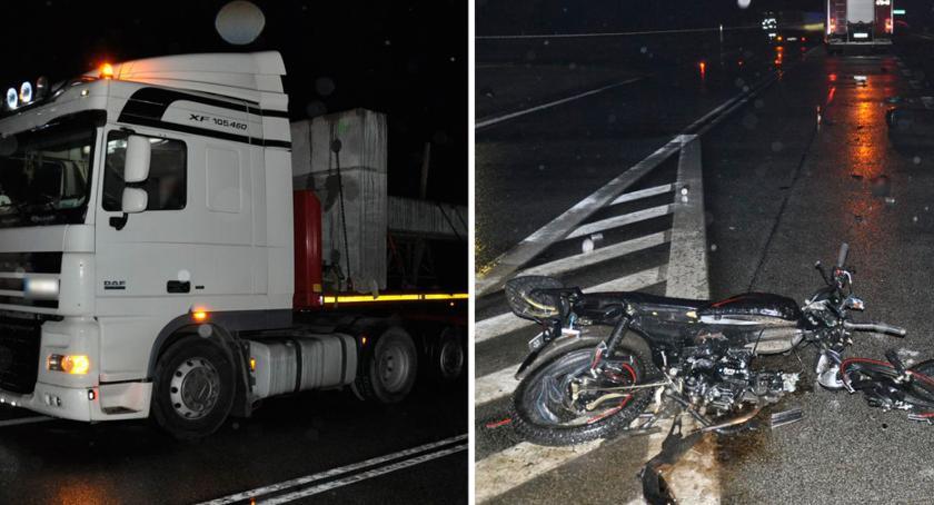 Wypadki drogowe, Poważny wypadek powiecie lipnowskim Motorower uderzył ciężarówkę [FOTO] - zdjęcie, fotografia