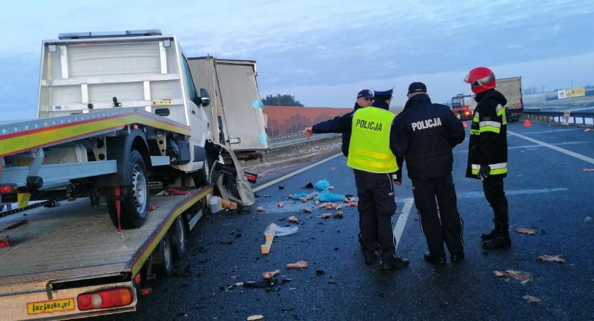 Wypadki drogowe, Kolejny karambol Włocławkiem Zderzyły ciężarówki laweta [FOTO] - zdjęcie, fotografia