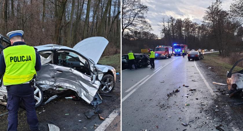 Wypadki drogowe, Wypadek drodze Włocławek Brześć Józefowie osób szpitalu [FOTO] - zdjęcie, fotografia