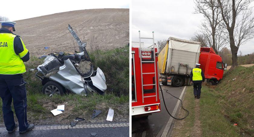Wypadki drogowe, Tragiczne zderzenie ciężarowym Volvo Mariankach żyje letni kierowca - zdjęcie, fotografia