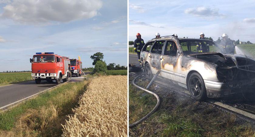 Pożary interwencje straży , Pożar samochodu osobowego Olganowie Gminie Choceń - zdjęcie, fotografia