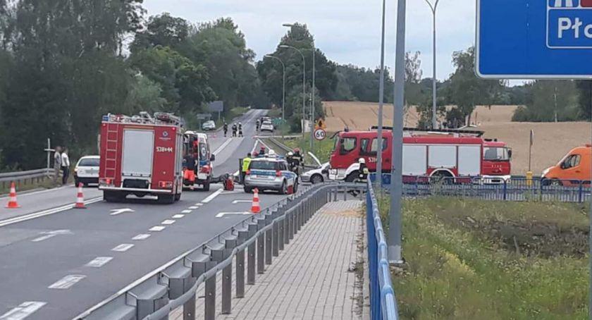 Wypadki drogowe, Tragiczny wypadek Warlubiu żyje motocyklista - zdjęcie, fotografia