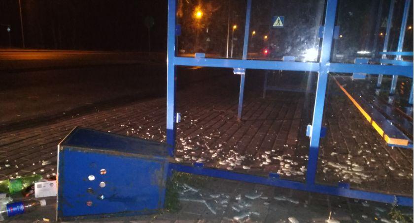 Straż Miejska, latka metalowym koszem zniszczyła wiatę przystankową Włocławku - zdjęcie, fotografia