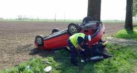 Audi uderzyło w drzewo i dachowało [ZDJĘCIA]
