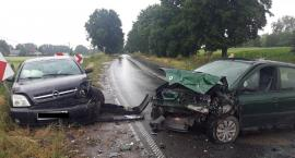 Wypadek w Borzyminie. Czołowe zderzenie samochodów. Cztery osoby trafiły do szpitala [FOTO]
