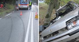Wypadek we Włocławku. Samochód przewrócił się i uderzył w drzewo [ZDJĘCIA]